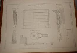 Plan De Fermeture De Magasins En Tôle. Système à Lames Verticales Et à Vis. 1860 - Travaux Publics