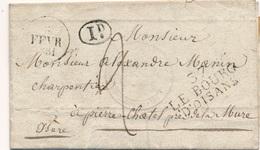 Lettre Bloc Dateur + 37 Le Bourg D'Oisans, Cachet De Marie Timbre Fiscal - 1801-1848: Precursors XIX