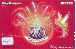 Carte Prépayée Japon  (1451)  DISNEY * TOKYO DISNEYLAND * RESORT LINE * TINKERBELL * JAPAN PREPAID CARD * Train - Disney