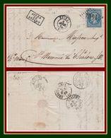 Epinal (82) Type 15 De 1864 + GC 1402 / N° 22 + Après Le Départ > Ste Memmie Les Châlons - Postmark Collection (Covers)