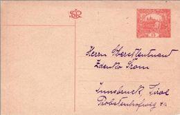 CZECHOSLOVAKIA POSTCARD MICHEL #P14 -> INNSBRUCK -NOT CANCELLED- - Postal Stationery