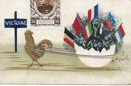 1914-18 -WW1 - CARTE PEINTE MAIN SIGNEE BOILLEY VIGNETTE JOFFRE PAQUES COQ TIRANT OEUF VERS VICTOIRE MYOSOTIS DRAPEAUX - Patriotic