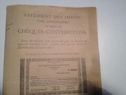 Cheques Contributions, 1925, Payement Des Impots Par Anticipation - Chèques & Chèques De Voyage