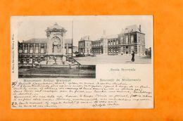 MORLANWELZ  -  SOUVENIR DE ....  ECOLE NORMALE  -  MONUMENT ARTHUR WAROQUE  -  Janvier 1900 - Morlanwelz