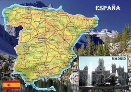 1 MAP Of Spain * 1 Ansichtskarte Mit Der Landkarte Von Spanien* - Landkarten