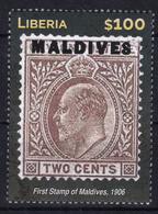 Liberia 2015 (B19) Stamp On Stamp First Stamp Of Maldives MNH ** - Liberia