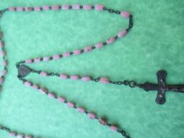 Chapelet Religieux Ancien De Communiant/Perles Roses / Mi - XIXéme Siécle                  CAN746 - Religión & Esoterismo
