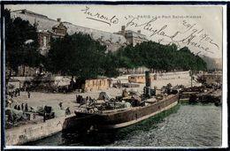 PARIS - 1 ER ARRDT - LE PORT SAINT - NICOLAS - BEAU PLAN DE BATEAU A VAPEUR - PENICHES - BATELLERIE - DOS 1900 - Arrondissement: 01