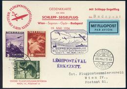 89431 AUSZTRIA 1936.Első Páros Vontató Repülés Légi Levlap Budapestre Küldve / AUSTRIA 1936.  Special Flight Airmail Car - Airmail