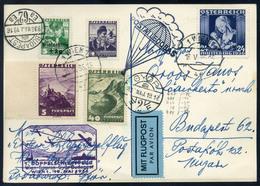 89430 AUSZTRIA 1936.Első Páros Vontató Repülés Légi Levlap Budapestre Küldve / AUSTRIA 1936.  Special Flight Airmail Car - Airmail