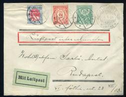 NETHERLANDS 1924. Decorative Air Mail Arnhem-Munich-Budapest - Period 1891-1948 (Wilhelmina)