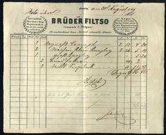 89747 PEST 1849.08.30. !! Brüder Filtso, Papirosok és Más írószerek Raktára, Nagyhíd Utca , Céges Számla. Ritka, Korai D - Unclassified