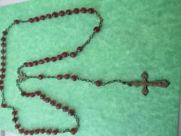 Chapelet Religieux Ancien De Communiant/Perles Verre Rouge  / Fin - XIXéme Siécle                  CAN748 - Religión & Esoterismo
