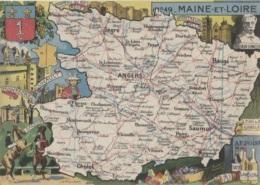 CPSM - Carte GEO.- MAINE Et LOIRE  - Illustration J.P.PINCHON - Edition Blondel La Rougery - Carte Geografiche
