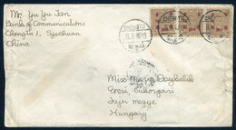 CHINA 1949 Letter Chengtu To Hungary - 1912-1949 Republic