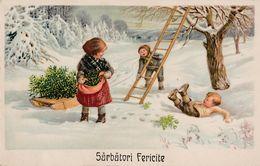 SARBATORI FERICITE / FÊTES Du NOUVEL AN / NEW YEAR'S HOLIDAYS - ROMANIA : ENFANT Et GUI En HIVER ~ 1940 - '43 (ab450) - Illustrateurs & Photographes