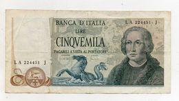 """Italia - Banconota Da Lire 5.000 """" Cristoforo Colombo """" 3 Caravelle - Decreto 20.05.1971 - (FDC8120) - [ 2] 1946-… : Républic"""