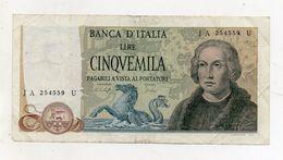 """Italia - Banconota Da Lire 5.000 """" Cristoforo Colombo """" 3 Caravelle - Decreto 10.11.1977 - """" R """" - (FDC8121) - [ 2] 1946-… : Républic"""