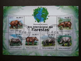 Rhinoceros. Nashörner # Mozambique # 2011 Used S/s # Rhino Mammals - Rhinozerosse