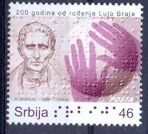 SRB 2009-271 100Y LOUISE BRAILLE, SERBIA, 1 X 1v, MNH - Serbie