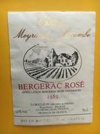 6872 -  Château Meyrand-Lacombe Bergerac Rosé 1989  Collée Sur Papier - Bergerac