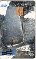 ZIMBABWE - Cone Shaped Building, First Issue $30, Tirage 25000, Exp.date 10/97, Used - Zimbabwe