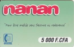 BURKINA FASO - Nanan, ONATEL Prepaid Card 5000 FCFA, CN : 5 + 3 Digits(0 With Barred), Used - Burkina Faso