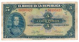 Colombia 5 Pesos 1947,Crisp VF. Rare. - Colombia