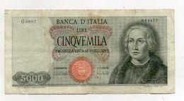 """Italia - Banconota Da Lire 5.000 """" Cristoforo Colombo """" 1 Caravella - Decreto 20.01.1970 - (FDC8125) - [ 2] 1946-… : Républic"""