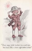 WWI Humor, 'Feel Better In Hard Hat' Soldier Wears Helmet In Trench, C1910s Vintage Postcard - War 1914-18