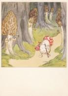Ida Bohatta Artist Signed Image Mushroom In House 'Congratulations' Message, C1930s/50s(?) Vintage Postcard - Mushrooms