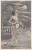 Aubade A La Lune Dawn Serenade To The Moon, Holds Stringed Instrument, Fashion, C1900s Vintage Postcard - Muziek En Musicus