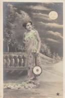Aubade A La Lune Dawn Serenade To The Moon, Holds Stringed Instrument, Fashion, C1900s Vintage Postcard - Fashion