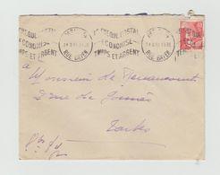 """LSC 1948 - Flamme Ondulée  """"le Cheque Postal économise Temps Et Argent"""" - Marcophilie (Lettres)"""