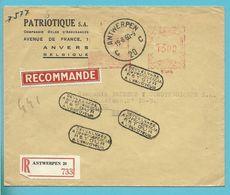 Brief Met Roodfrankeering (B1045) Aangetekend Stempel ANTWERPEN 20 Naar ESPAGNE, Stempel DEVUELVASE / RETOUR..... - Franking Machines