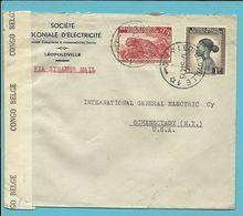 "257+261 Op Brief ""Via Steamer Mail"" Stempel LEOPOLDVILLE 17/5/44 Naar U.S.A. Censure 15  Leopoldville - Belgian Congo"