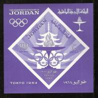 Jordan, 1965, Olympic Summer Games Tokyo, Sports, MNH Imperforated, Michel Block 21 - Jordanie