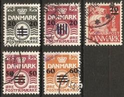 Faroyar Faroer 1940-41 5 Overprints On Danish Figure Stamps Cancelle - Färöer Inseln