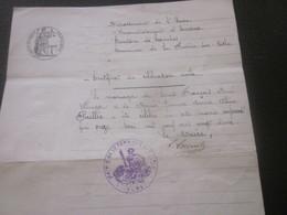 1922-Manuscrit Certificat Célébration Mariage Civil-Wenger-Paillée Evreux Canton De Honches La Ferrière Sur Risle Eure - Manuscripts