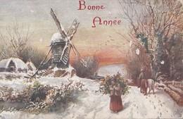 Cpa 2 Scans Oilette Winter's Mantle Raphael Tuck 9891 Bonne Année Moulin Femme Et Fardeau - Tuck, Raphael
