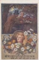 Join German School Association, Music Romance Flowers Theme Artist Image, C1910s Vintage Postcard - Schools