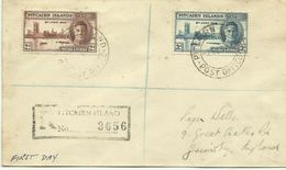 Pitcairn Islands SG 9-10 1946 Victory,Registered Addressed ,First Day Cover,Toned - Stamps