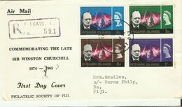 Pitcairn Islands SG 53-56 1966 Churchill ,addressed First Day Cover,toning - Stamps