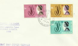 Pitcairn Islands SG 85-87 1968 Human Rights ,First Day Cover - Stamps