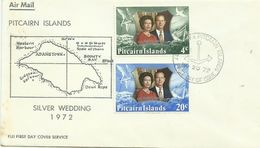 Pitcairn Islands SG 124-125 1972 Royal Wedding ,First Day Cover - Stamps