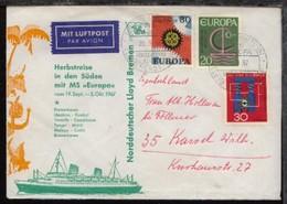DSP LLOYD HERBSTREISE MS EUROPA NDL 29.9.67 Auf Sonder-Umschlag (032), Bedarf - Non Classés