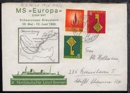 DSP MITTELMEERFAHRT MS EUROPA NDL 21.6.69 Auf Sonder-Umschlag (040) - Non Classés