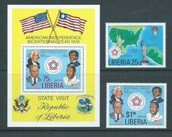 Liberia 1976 US Independence Anniversary Set 2 & Miniature Sheet MNH - Liberia