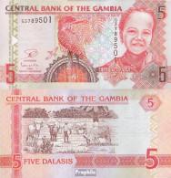 Gambia Pick-Nr: 25, Signatur 17 Bankfrisch 5 Dalasis - Gambia