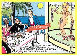 CPSM Illustrateur - MAT - HUMOUR  Strip Tease Pin Up Nue Couple Restaurant - Hotels & Restaurants